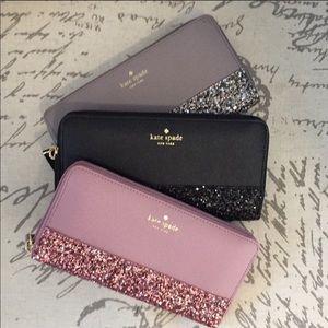 Kate spade glitter wallet - pink or black